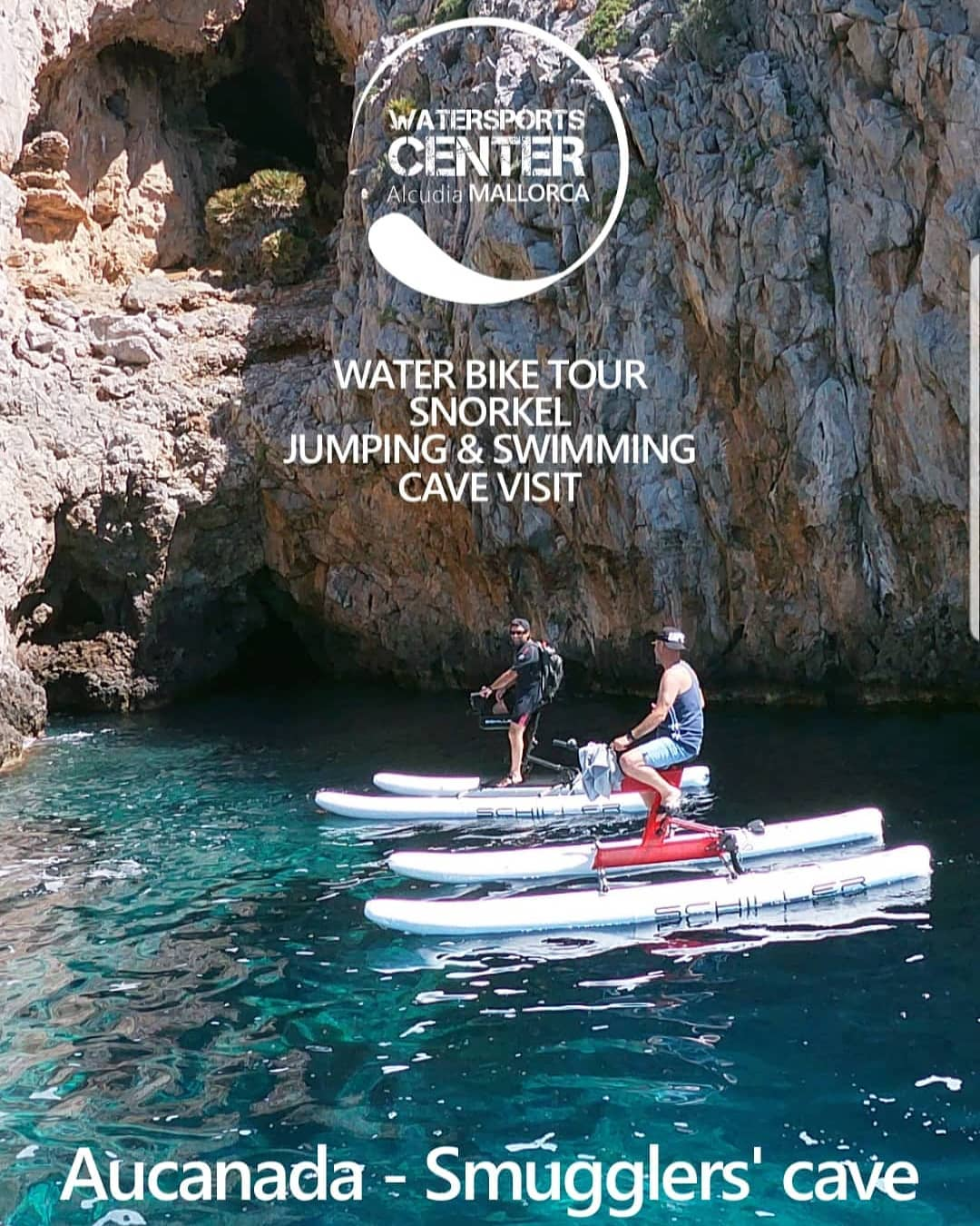 The best way to know the environment, its hidden coves, caves and crystalline bottoms. Water Bikes guided tours.  Pirate life is much better.  La mejor forma de conocer el entorno,sus calas escondidas,cuevas y fondos cristalinos
